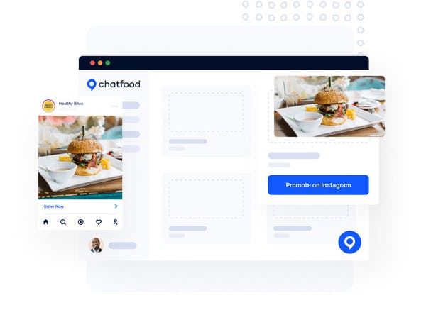 Depiction of a screen browser with ChatFood system open, and a Facebook post of a burger inside it