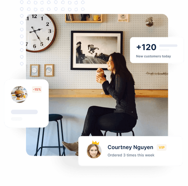 Woman at a café holding a mug. Around her, images representing customer information that can be accessed with ChatFood